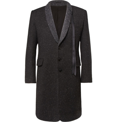 Ann Demeulemeester Woven Wool-Blend Shawl-Collar Overcoat