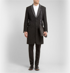 Ann Demeulemeester Shawl-Collar Woven Wool-Blend Overcoat