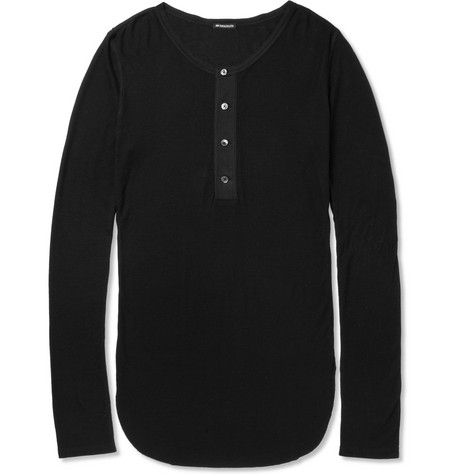 Ann Demeulemeester Long-Length Ribbed-Jersey Henley T-Shirt