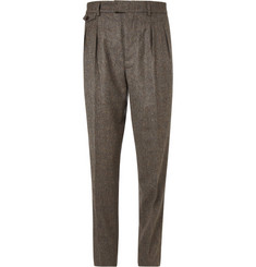 Christophe Lemaire Brown Pleat-Front Wool-Tweed Suit Trousers