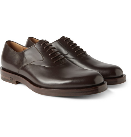 Gucci Dark Brown Leather Oxford Shoes