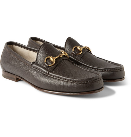 gucci male gucci horsebit grainedleather loafers dark brown
