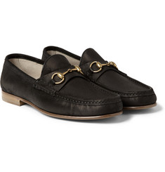 Gucci - Horsebit Burnished-Suede Loafers