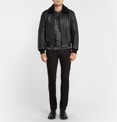 McQ Alexander McQueen Shearling-Collar Leather Bomber Jacket