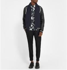 Lanvin Leather and Twill Panelled Bomber Jacket