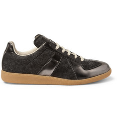 Maison Martin Margiela Felt and Burnished Metallic Panelled Sneakers