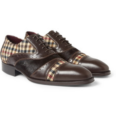 Etro Leather, Calf Hair and Check Oxford Shoes