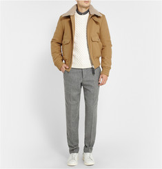 AMI Shearling-Collar Wool Bomber Jacket