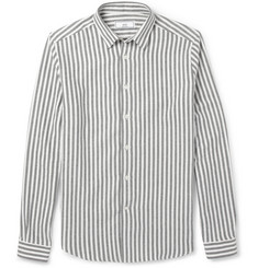 AMI Striped Brushed Cotton-Flannel Shirt