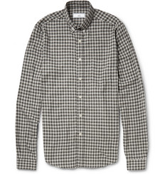 AMI Gingham Check Brushed-Cotton Shirt