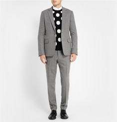 AMI Grey Wool-Flannel Suit Trousers