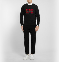 AMI Tartan Wool and Cotton-Jersey Sweatshirt