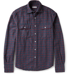 Michael Bastian Slim-Fit Check Wool and Cotton-Blend Shirt