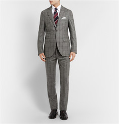 Michael Bastian Grey Windowpane-Check Wool Suit Jacket