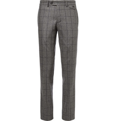 Michael Bastian Grey Slim-Fit Windowpane-Check Wool Suit Trousers