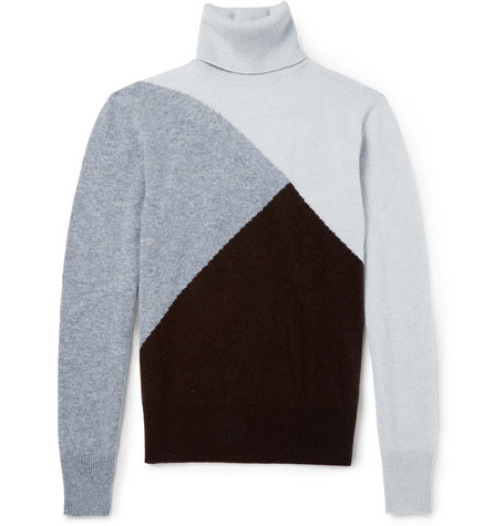 Michael Bastian Cashmere Colour-Block Rollneck Sweater