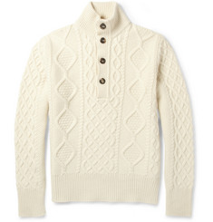 Michael Bastian Wool, Silk and Cashmere Cable-Knit Sweater