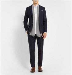 Officine Generale Navy Slim-Fit Jacquard Wool Suit Jacket