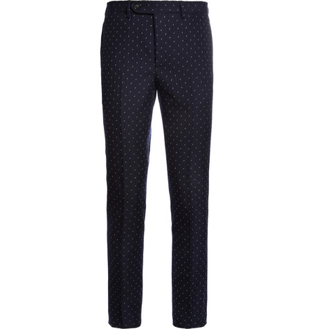 Officine Generale Navy Slim-Fit Jacquard Wool Suit Trousers