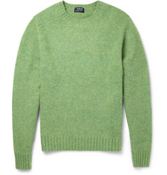 Polo Ralph Lauren Suede Elbow Patch Brushed Knitted-Wool Sweater