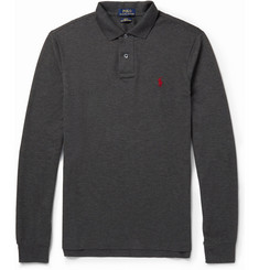 Polo Ralph Lauren Slim-Fit Long-Sleeved Cotton-Piqué Polo Shirt