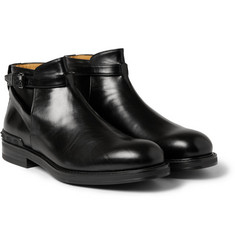 Valentino Polished-Leather Buckled Ankle Boots