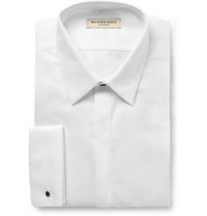 Burberry London White Double-Cuff Ribbed-Cotton Shirt