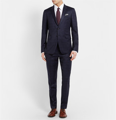 Paul Smith London Navy Kensington Slim-Fit Checked Wool Suit