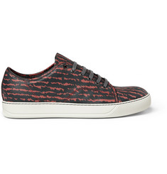 Lanvin Printed Leather Low Top Sneakers