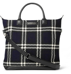 WANT Les Essentiels de la Vie O'Hare Leather-Trimmed Checked Wool and Organic Cotton-Canvas Tote Bag