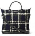 WANT LES ESSENTIELS - O'Hare Leather-Trimmed Checked Wool and Organic Cotton-Canvas Tote Bag