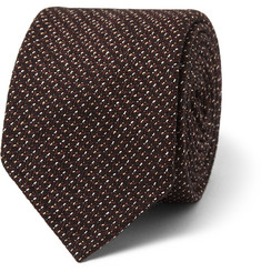 Drake's Mélange-Knit Silk and Wool-Blend Tie