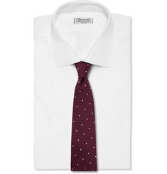Drake's Dot-Embroidered Wool and Silk-Blend Tie