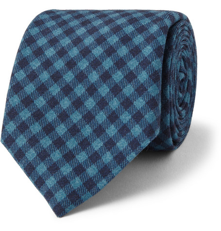 Drake's Gingham Check Wool and Silk-Blend Tie