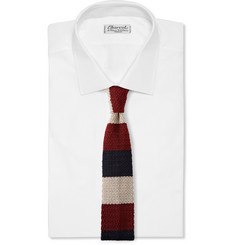 Drake's Striped Knitted Silk Tie