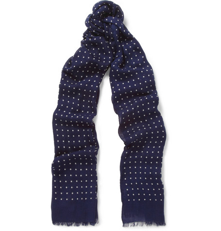 Drake's Spot-Print Modal and Cashmere-Blend Scarf