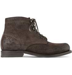 Bottega Veneta Brushed-Leather Lace-Up Boots