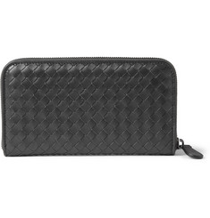 Bottega Veneta Zip-Around Intrecciato Woven-Leather Wallet