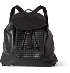 Bottega Veneta Intrecciato-Trimmed Leather Backpack