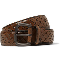 Bottega Veneta Brown 3.5cm Intrecciato-Effect Leather Belt
