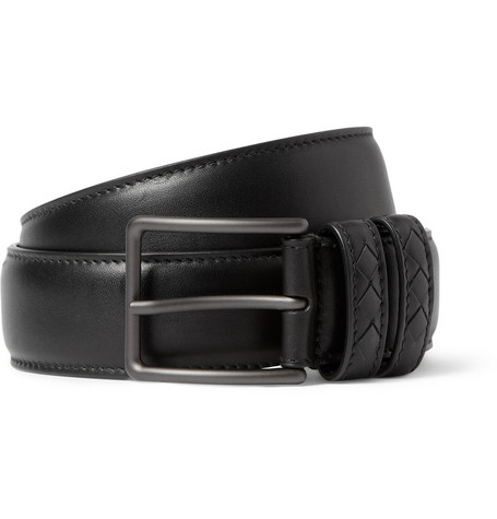 Bottega Veneta Black 3.5cm Intrecciato-Trimmed Leather Belt