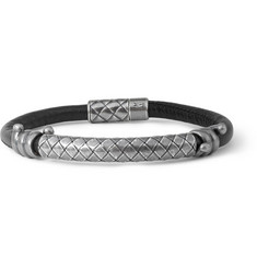 Bottega Veneta Silver and Leather Bracelet