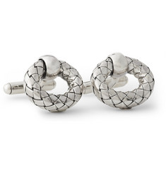 Bottega Veneta Intrecciato Sterling Silver Cufflinks