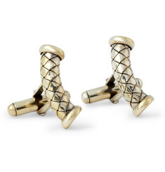 Bottega Veneta Curved Intrecciato Sterling Silver Cufflinks