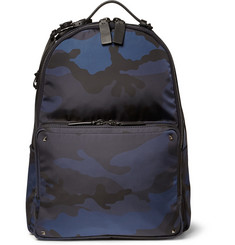 Valentino Camouflage-Print and Leather Backpack