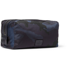 Valentino Camouflage-Print Leather-Trimmed Cotton Wash Bag