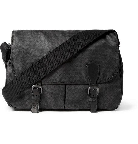 Bottega Veneta Leather-Trimmed Intrecciato-Print Messenger Bag