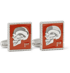 Paul Smith Shoes & Accessories Enamelled Skull Stamp Metal Cufflinks