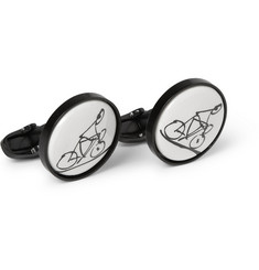 Paul Smith Shoes & Accessories Cyclist Porcelain and Metal T-Bar Cufflinks