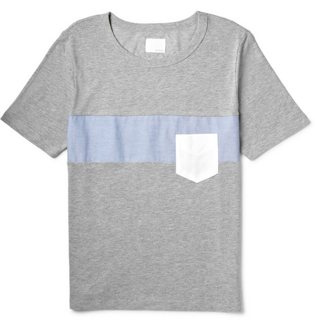 Band of Outsiders Paneled Cotton-Jersey T-Shirt